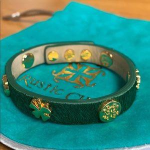 Rustic Cuff leather calf skin bracelet gold green